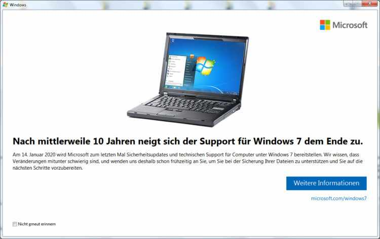 Support-Ende für Windows7